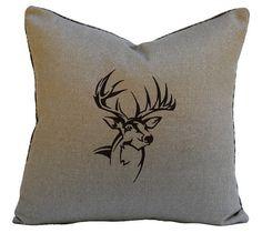 Deer / Buck Antler Silhouette Pillow Handmade by TheCowPelt