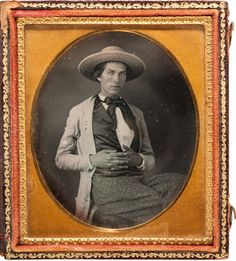 [Samuel H. Walker]. James Francis Blair Sixth-Plate Daguerreotype, circa 1848. Blair, a private in Samuel Walker's company of Texas Rangers during the early months of the Mexican War, wears a broad-brimmed palmetto hat and a light-colored linen duster, popular amongst Rangers.