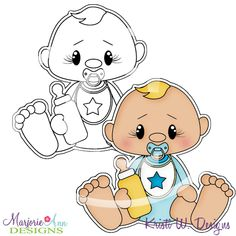 Baby Boy Stamps come in JPG & PNG format Also included, is the colored in clipart that can be used for print and cut
