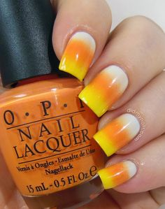 candy corn Halloween nail art