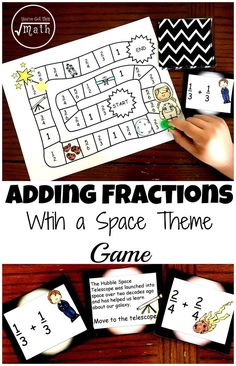 Work on adding fractions with common denominators using this free game with a space theme. Children learn facts about space and solve expressions that have fractions with common denominators.