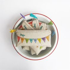 paint + machine embroidery...so cute!