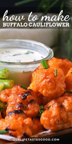 How to make BAKED buffalo cauliflower bites that are crispy on the outside with a cool ranch dipping sauce. Buffalo cauliflower is a meatless and dairy free appetizer perfect for game day. This football appetizer is great for party food. The buffalo sauce is a little spicy