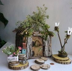 Fairy Cottage by Olive, Fairy House, Miniature Cottage ~ Includes All Fairy Accessories Shown Faerie, Fae House $325.50