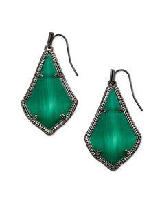 Alex Gunmetal Drop Earrings in Emerald Cat's Eye | Kendra Scott Emerald Earrings, Drop Earrings, Brass Material, Kendra Scott, Fashion Accessories, Shapes, Eyes, Stylish, Cat