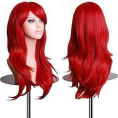 Long Curly Wig Kinky Curly Cosplay Party Costume Hair with Hairnet (Red) - Accessories, Hair Replacement Wigs, Curly # # Long Hair Wigs, Curly Wigs, Long Curly Hair, Wavy Hair, Curly Hair Styles, Red Hair, Thick Hair, Cheap Cosplay Wigs, Hair Colorful