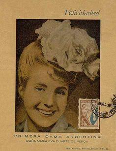 A postcard with the image of María Eva Duarte de Perón. It carries the legend congratulations