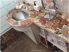 mesada y bañera, mosaico veneciano @crislanuque