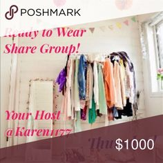 6/15 👗 THURSDAY 👗 Sign Up Welcome to 👗Ready to Wear share Group! 👗⭐️Rules are Simple, share 5 Available Listings from everybody on the list. ⭐️ Sign in with you @username ⭐Can Share Anytime 💐 Sign out When you are done, Sign up will Close at 5PM⭐️ ‼️Very Important‼️ ‼️PLEASE PLAY FAIR‼️Share all on the list, those WHO DONT, WILL NOT, be able to Join Again and will be 🚫Blocked🚫 ‼️We all are here want the same thing,  Let's Help each other out 😃🎉  ✨Lets Make some Sales!!✨  💖HAPPY…