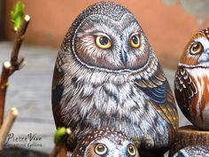 Stone painted owl by Ernestina