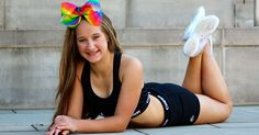 Shine with cheer pride everywhere you go with the new Rainbow Hair Bow from Chassé®. Shop it here. Cheerleading Hair Bows, Cheerleading Jumps, Cheer Hair Bows, Cheer Stunts, Ribbon Hair Bows, Senior Guys, Cheer Pictures, Rainbow Hair, Photo Editing