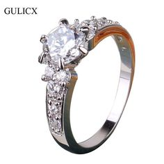 GULICX 2016 Brand Fashion Finger Midi Engagement Ring for Women White Gold Plated Crystal CZ Zirconia Wedding Jewelry R150