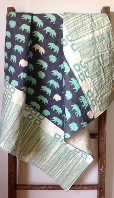 Baby Boy Quilt, Modern Baby Quilt, Organic Quilt, Birch Fabric, Bear Hike Shadow, Camp Modern, Bears