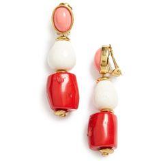 Women's Oscar De La Renta Semiprecious Stone Bead Clip Earrings ($325) ❤ liked on Polyvore featuring jewelry, earrings, melon, semi precious stone earrings, semi precious jewellery, beading jewelry, semi precious earrings and clip back earrings
