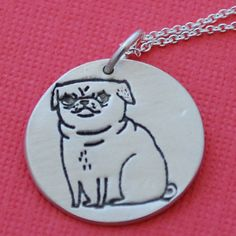 silver PUG necklace, round pendant, GEMMA CORRELL'S Pickles the Pug, eco-friendly handcrafted by Chocolate and Steel