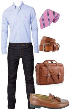 Brown tone/shaded shoes and belt with dark navy denim or slacks. I love this look.