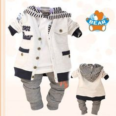 Baby boy hoodie.  NiSHa - Baby Boys Bear Casual Hoody Outfits (Jacket Shirt Pant) Size 12M, 18M, 24M: