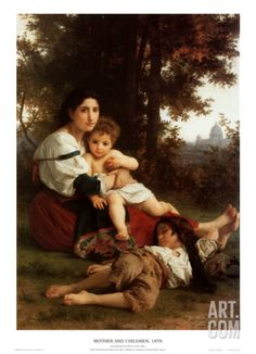 Mother and Children Art Print by William Adolphe Bouguereau at Art.com