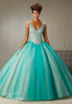 89065 Quinceanera Gowns Beading and Embroidery on a Tulle Ball Gown with Chandelier Crystal Sleeves