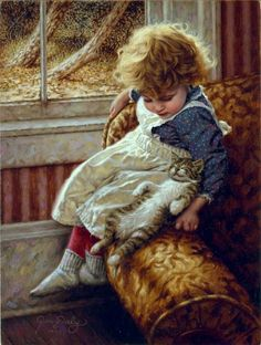 "Jim Daly Artist Hand Signed Fine Art Canvas Giclee: ""Contentment"" Artist: Jim Daly Title: Contentment Size: x Release Year: 2010 Medium: giclee on canvas, hand signed by the artist Abou Painting Words, Paintings I Love, Beautiful Paintings, Vintage Children, Art Children, Retro, Belle Photo, Cat Art, Love Art"