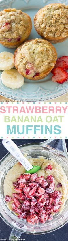 Strawberry Banana Oat Muffins- made these. Turned out great! We ate them for breakfast. Banana Oat Muffins, Banana Oats, Baby Food Recipes, Baking Recipes, Dessert Recipes, Muffin Recipes, Healthy Snacks, Healthy Recipes, Snacks Für Party