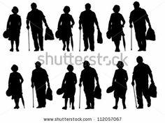 Vector drawing of an elderly couple walking - stock vector