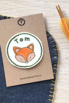 A personalised embroidered fox patch to decorate your kids backpack or jacket. Embroidered with your chosen name and a cute fox design, these felt patches would make a really unique custom gift for a children. Embroidered Name Patches, Stationary School, Back To School Supplies, Cute Fox, Fox Design, Kids Backpacks, Customized Gifts, Wool Felt, Gifts For Kids