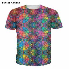 PLstar Cosmos Flashbacks T-Shirt colorful psychedelic 3d print t shirt Summer Style hipster Street tees Women/Men short sleeves #Affiliate