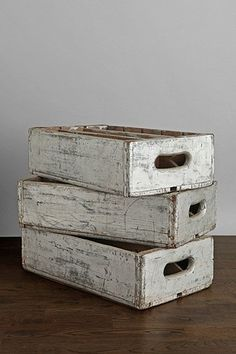 silver vintage wooden crates - urban outfitters