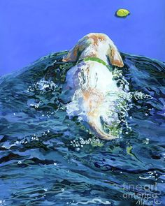 Yellow Lab  Blue Wake Painting  -  Molly Poole Watercolor We have this hung outside by our pool