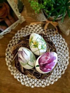 Decorated Easter eggs tulips decoupage Easter by foreverdecoupage