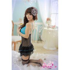 A384 Blue  - 2pc : dress, gstring  Free Size LD 70-86cm, Hips 70-80cm, Bra 32-34    IDR 93.000