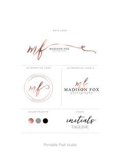 Branding package - Brand identity - Photography Logo - Rose gold Logo - logo…