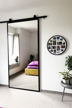 45 fantastic interior sliding doors design ideas for every home - ROUNDECOR- aweso fantastic interior sliding doors design ideas for every home - ROUNDECOR- Sliding doors for bedrooms: modern and elegant models! Bedroom Closet Design, Home Room Design, Home Decor Bedroom, Interior Design Living Room, House Design, Mirror In Bedroom, Mirror Door, Barn Door Designs, House Rooms