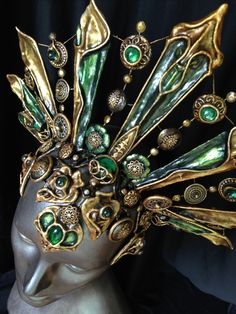 A new colorway for the #queenofthedamned crown - green and gold #Akasha #headdress available for commission at OrganicArmor.com