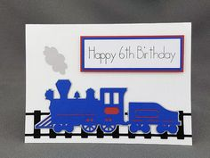 Handmade Red and Blure Train 6th Birthday  Card by CraftyGalCards
