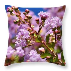 "Crepe Myrtle Throw Pillow 14"" x 14"" by Kaye Menner"