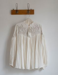 """""""Marla"""" embroidered cotton crepe blouse cream Clothes Horse, Cotton Blouses, New Baby Products, Organic Cotton, My Style, Cream, Outfits, Dresses, Minimalism"""