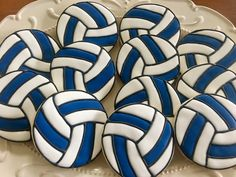 Volleyball cookies, blue & white