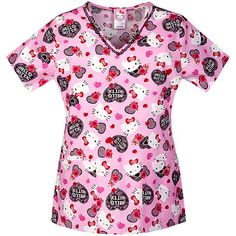 Simply Basic Hello Kitty Lacy V-Neck Scrub Top, Women's, Size: Large, Pink Cute Nursing Scrubs, Medical Scrubs, Nurse Scrubs, Scrub Tops, V Neck Tops, Floral Tops, Hello Kitty, Walmart, How To Wear