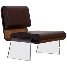 Walnut and Leather Hand Stitch Luroidea Lounge Office Chair With Perspex Legs For Sale