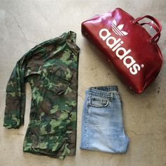 Ready for a weekend getaway? Vintage Adidas gym/weekender bag $75+$24 domestic shipping, perfectly worn Levi's 501s size 34/30 $48+$16 shipping, lightweight camo jacket size M $52+$16 shipping. Call 415-796-2398 to purchase by phone or send PayPal payment to afterlifeboutique@gmail.com and reference item in post.
