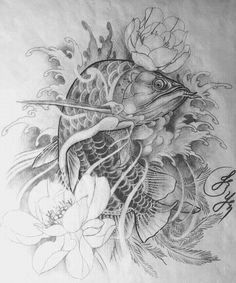 Yakuza Tattoo, Carp Tattoo, Koi Fish Tattoo, Ghost Tattoo, Japanese Tattoo Designs, Tattoo Japanese, Ocean Tattoos, Fish Tattoos, Samurai