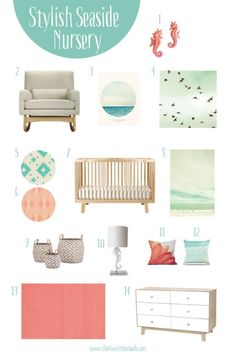 This beach themed nursery is the perfect design for a baby girl who is a mermaid at heart. The aqua and coral color palette brings youth to the room while the natural colors anchor the timeless design.