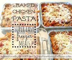 Baked Chicken Pasta is so yummy, frugal and super easy to throw together. Plus it freezes beautifully making it so convenient to cook once and load the freezer with several meals! Perfect for those busy fall and winter nights!