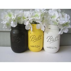 BUMBLE BEE Painted and Distressed Ball Mason Jars- Yellow, Black and... ($21) ❤ liked on Polyvore