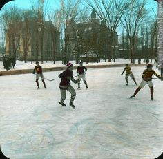 Partie de hockey, campus de McGill, Montréal, QC, anonyme, vers 1910, 20e siècle // Hockey game, McGill campus, Montreal, QC, anonymous, about 1910, 20th century Largest Countries, Countries Of The World, O Canada, Of Montreal, Hockey Games, Winter Scenes, Winter Sports, Vintage Pictures, Old Photos