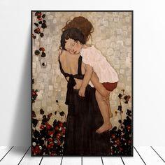 Gustav Klimt, Art Klimt, Framed Wall Art, Canvas Wall Art, Wall Art Prints, Figure Painting, Oil Painting On Canvas, Mother And Child Painting, Nordic Art