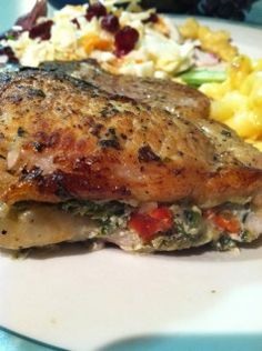 Stuffed Pork Chops ~ spinach, sundried tomatoes, onion & cheese ~ Try adding artichokes & mushrooms