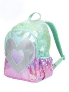 JUSTICE GIRLS SEQUIN BACKPACK OMBRE HEART DANCE CHEER BAG SPORT TOTE NWT…